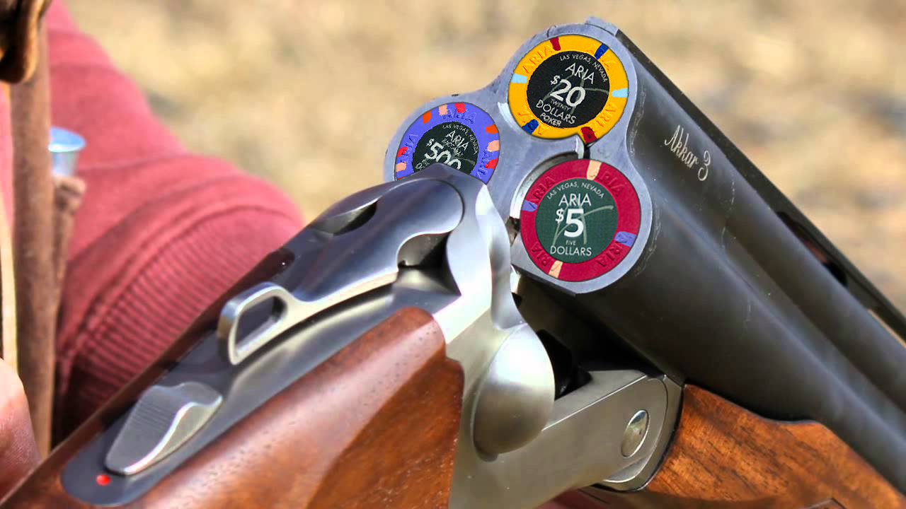 triple barrel shotgun with chips poker tips